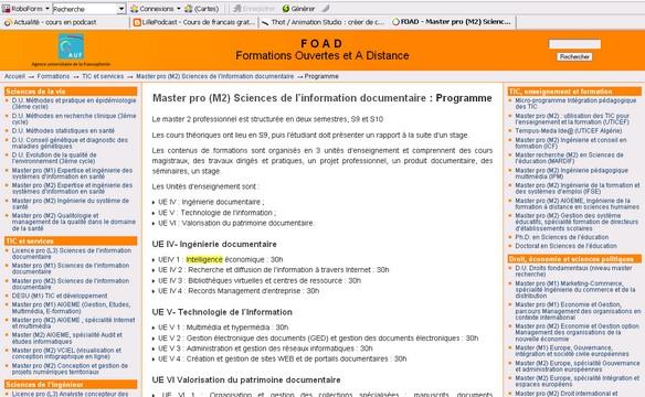 FOAD - Master pro (M2) Sciences de l'information documentaire : Programme - Formation ouverte et à distance